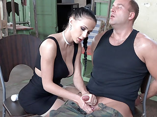 Sexy brunette primate dick of military