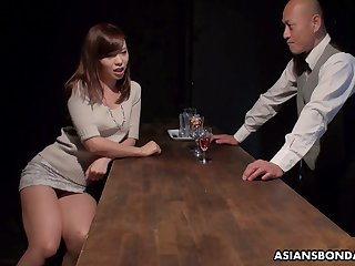 Japanese whore Aihara Miho is fucked, creampied and jizzed away from several customers