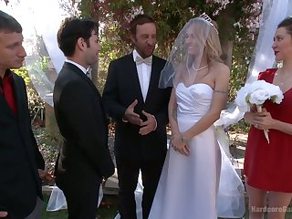 Thick folded bride Natasha Starr is fucked by whisk broom increased by twosome dudes