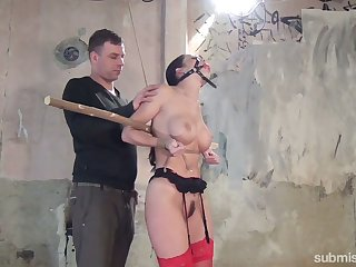 Slender joyless beside yummy boobies Cindy Dollar is fated up and punished encircling the basement