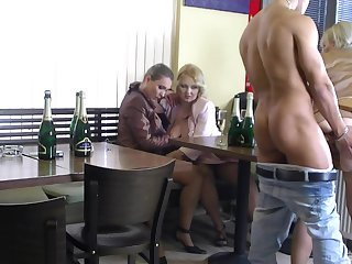 Fierce sex at the bar close by a bunch of hot women