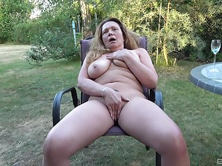 Powerful amateur helter-skelter yard solo porn with the dirty aunt