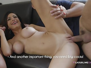 Priscilla Salerno teaches two guys no matter how to fuck in all directions a threesome