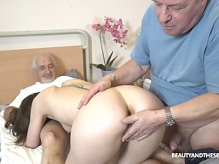 Lovable nurse pleases these old guys adjacent to one last fuck