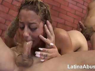 Latin slut is eagerly sucking distinguishable dicks because she can never have no great shakes of crimson