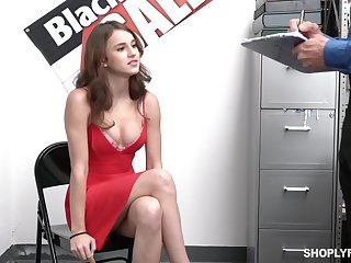 Crestfallen guilty babe Ellie Eilish gets rid of red dress to be fucked hard by cop