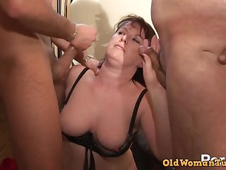 Nice Lay Chubby Mature DP Threesome fucked hard