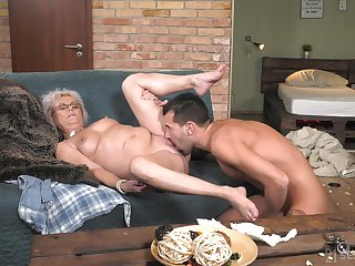 Granny works magic with her soaking pussy with an increment of arse