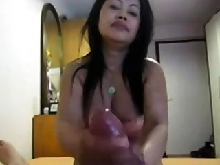 Unpaid Asian gives nice pov hj to obese cock
