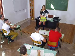 Classroom fun surrounding the hot teacher
