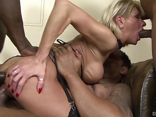 Hot mature shared by a bunch of hard up persons with insane cocks